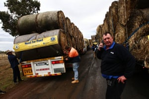 67 year old trucker from Muswellbrook takes an opportunity to make a call during a rest break in west Wyalong.