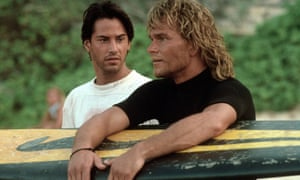 Keanu Reeves and Patrick Swayze in Point Break.