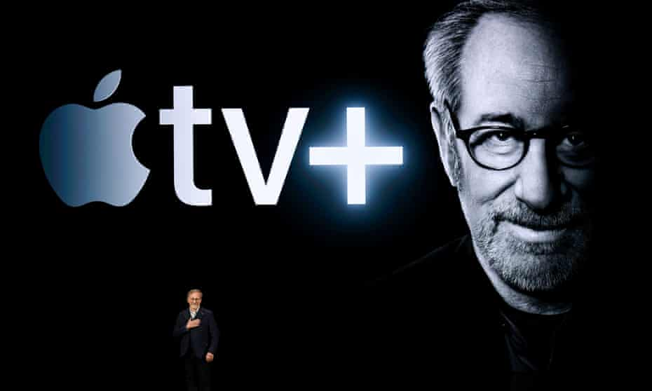 Steven Spielberg speaks during an Apple product launch event at the Steve Jobs Theater at Apple Park on March 25, 2019 in Cupertino, California.