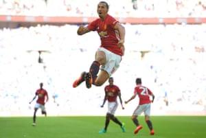 Zlatan Ibrahimovic celebrates scoring United's winner in the Community Shield.