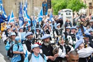 Bagpipes were played during the march
