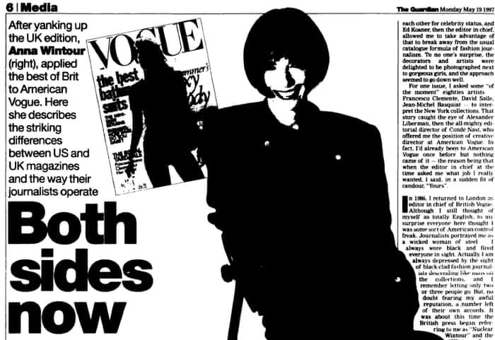 Anna Wintour On Leaving London For New York Archive 19 May 1997