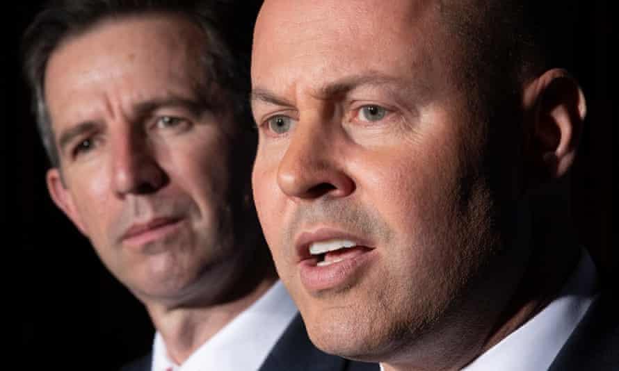 Treasurer Josh Frydenberg flanked by finance minister Simon Birmingham
