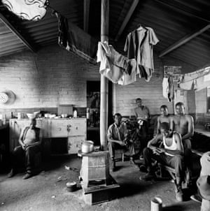 In the Jabulani Men's Hostel, Soweto, 1972 (Goldblatt)Within that area, however, each photographer accessed areas that would have proven difficult for the other – since Goldblatt was white and Cole black.