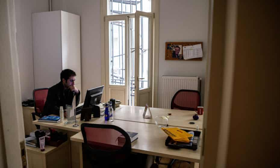 An employee of the pro-Kurdish DIHA news agency in his office in Istanbul on 30 October