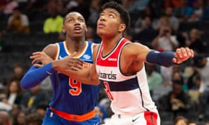 Washington Wizards forward Rui Hachimura (right) is the first Japanese player to make the NBA draft