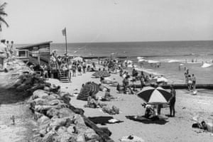 Beachgoers on Palm Beach in April 1944. Prior to the second world war, much of the US beaches were treated as public land.