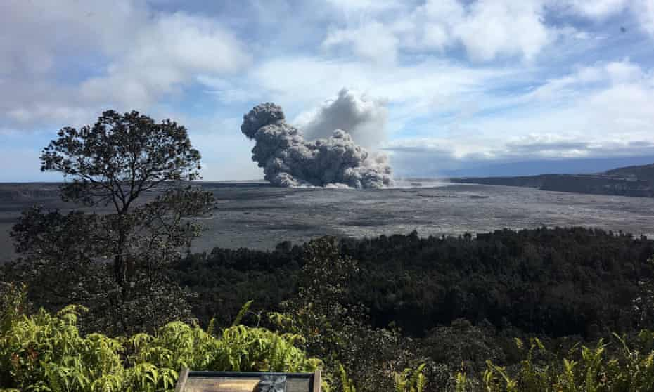 A rising ash plume, seen from a crater at the summit of Kilauea.