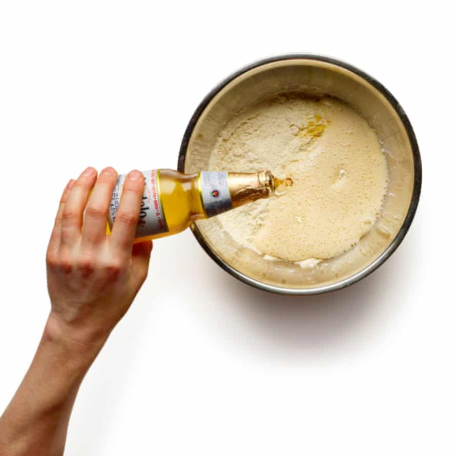 Combine the dry ingredients for the batter, then whisk in just enough beer to make a thick paste