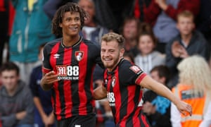 Bournemouth's Nathan Aké celebrates scoring their second goal against Everton with Ryan Fraser.