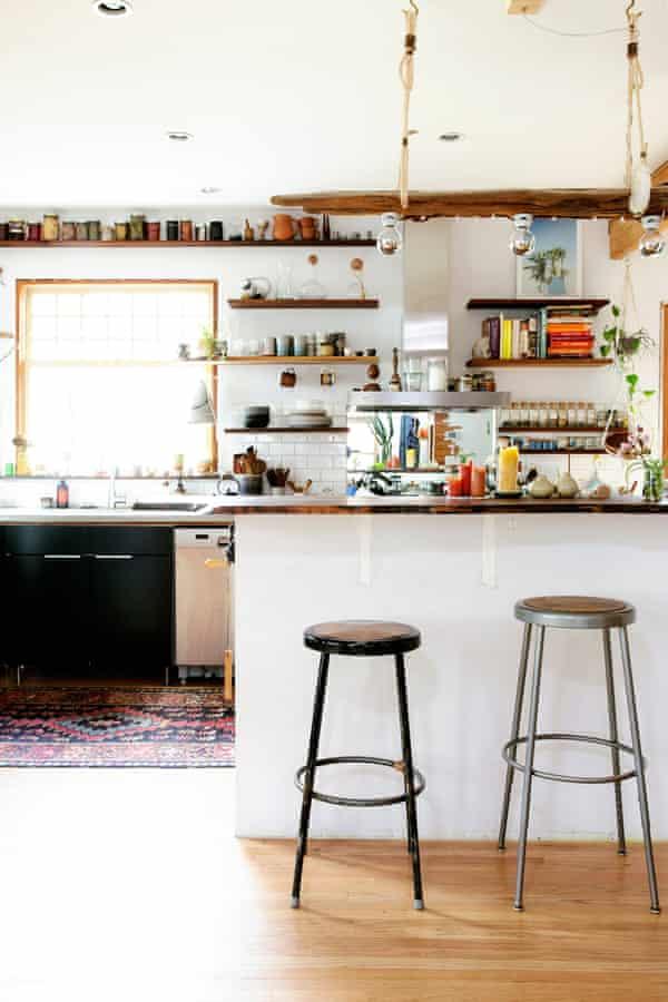 Driftwood light in kitchen