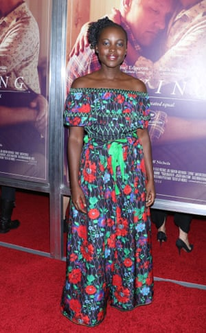 Actor Lupita Nyong'o wearing a Kenzo x H&M dress at the Loving film premiere in New York.