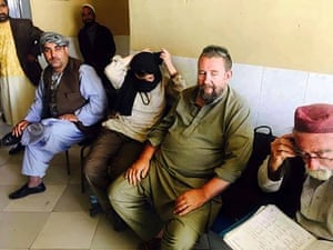 Two tourists (centre) are treated at a hospital after the attack.
