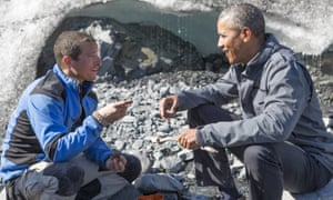 Friends in high places … Bear Grylls and Barack Obama in Running Wild With Bear Grylls.