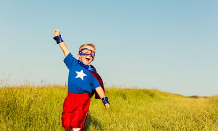 Young Boy dressed as Superhero