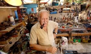 Trevor Baylis in his workshop in 2003.