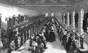 Female workers in a  wood engraving factory in Birmingham, 1851
