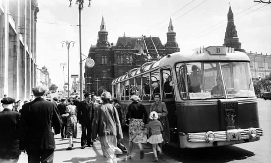 A trolleybus stop near Red Square.