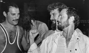 Billy Connolly with Kenny Everett and Freddie Mercury at the latter's 38th birthday party, Xenon nightclub, 1984.