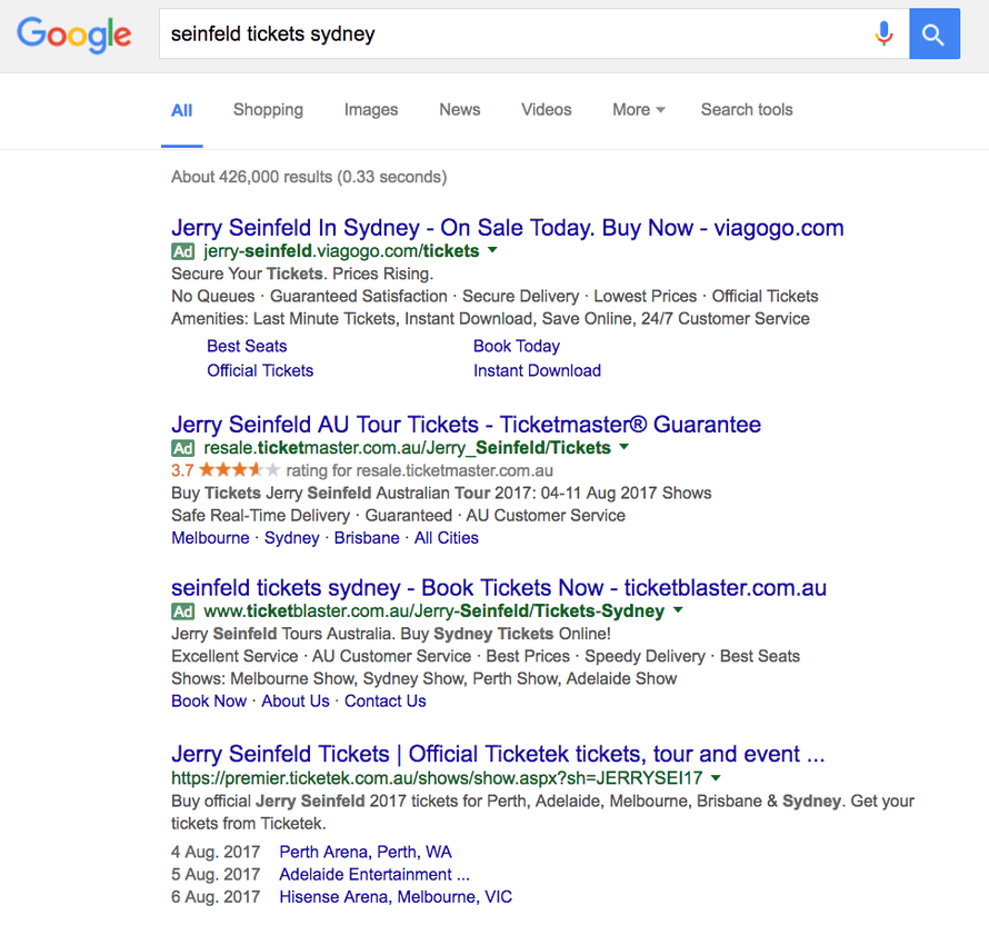 Google results taken at 4.30AEST Wednesday 16 November, to illustrate how Google Adwords prioritise secondatry ticketing sites over genuine sellers, which facilitates scalpers