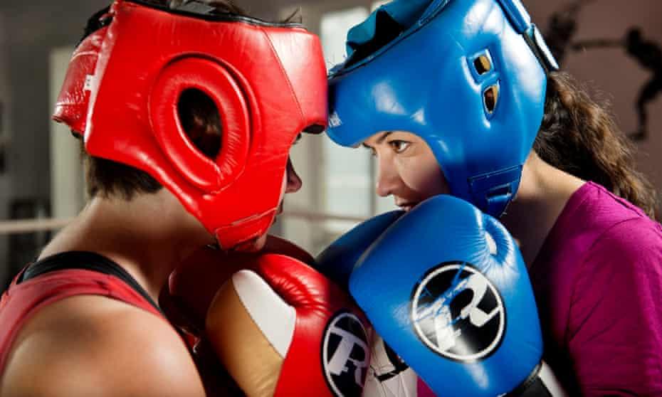 Homa Khaleeli and her friend Rachel boxing