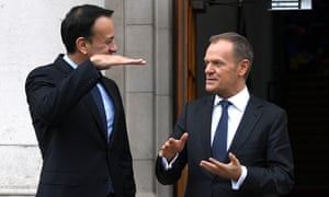 Irish prime minister Leo Varadkar with Donald Tusk, president of the European council, in Dublin