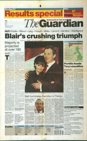 Guardian front page: 'Blair's crushing triumph'