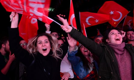 Supporters of the main opposition CHP celebrate victory in Ankara.