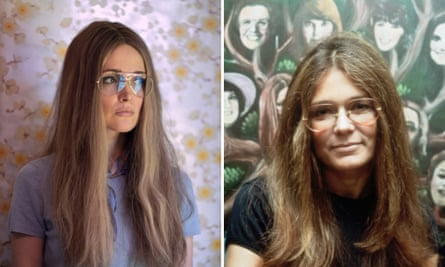 Rose Byrne, left, in Mrs America, and the real Gloria Steinem in 1977.