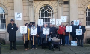A protest against cuts by Northamptonshire county council, November 2017