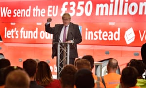 Boris Johnson stands in front of the £350m slogan in front of an audience