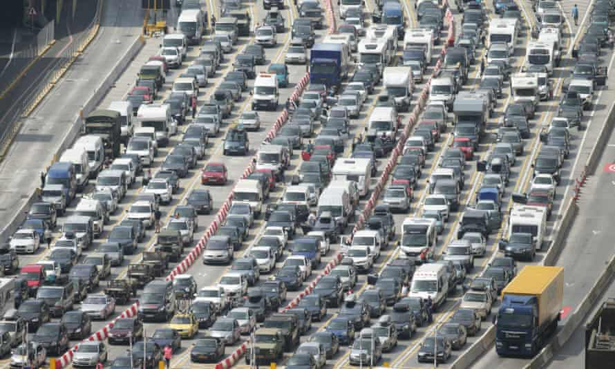 Vehicles queuing at the Port of Dover in Kent
