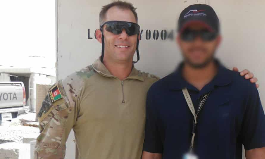 The Afghan interpreter 'Hassan' with former Australian army intelligence officer Jason Scanes, who has campaigned for Afghan nationals who worked with the ADF to be evacuated to Australia.