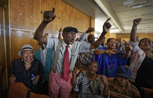 Harare, ZimbabweMembers of Zimbabwe's association of war veterans sing old songs from the war of independence at a press conference held by their leader Chris Mutsvangwa, in which he called for President Robert Mugabe to step down