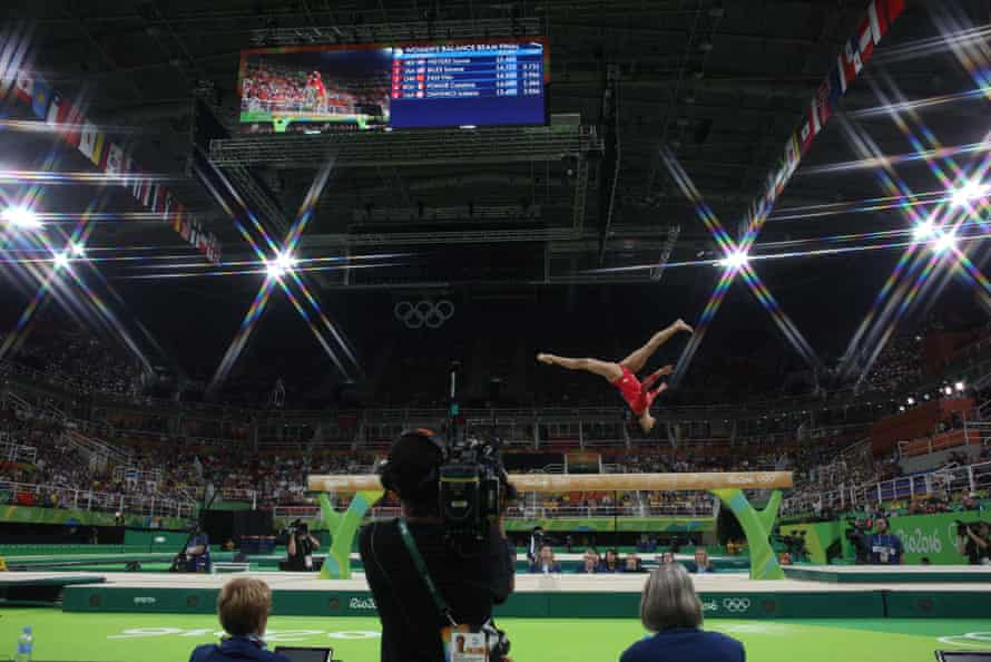 Laurie Hernandez competes on the beam in Rio on her way to a silver medal.