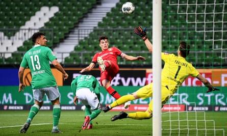Kai Havertz heads in Bayer Leverkusen's opener.