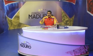 "Venezuela's president Nicolas Maduro speaks during his weekly broadcast ""en contacto con Maduro""."