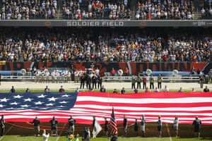 The Pittsburgh Steelers sideline is nearly empty during the anthem at Soldier Field in Chicago, before a game against the Bears.