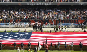 The Pittsburgh Steelers side of the field is nearly empty during the playing of the national anthem at Soldier Field.