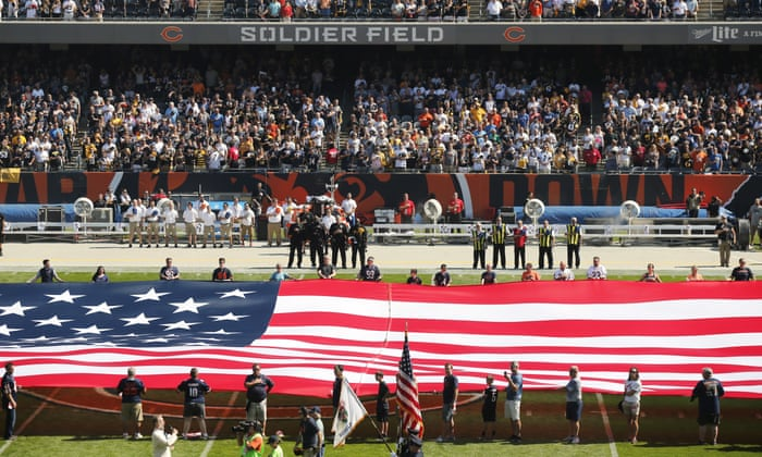 50b8a9e09b5 NFL players kneel for anthem in unprecedented defiance of Trump | US news |  The Guardian