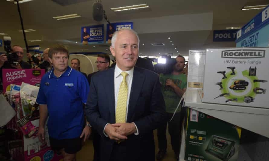 Australian Prime Minister Malcolm Turnbull speaks to workers as he visits a 'Mitre 10' branch in the seat of Forde in Brisbane,