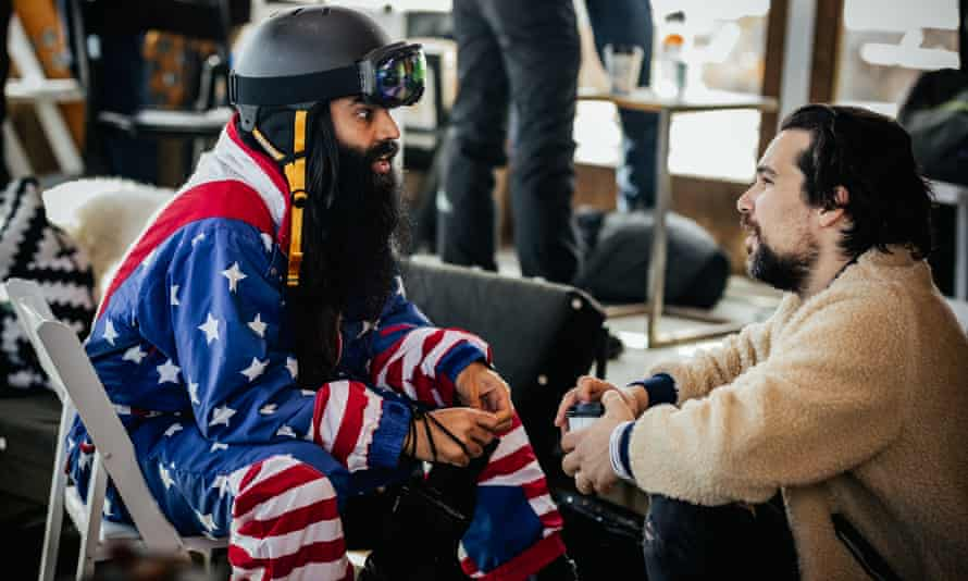 From left: Rameet Chawla, CEO of an app-design company, speaks with Summit co-founder Jeff Rosenthal.