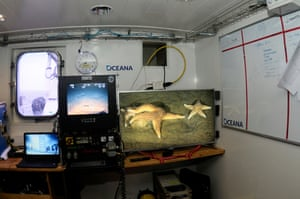 Footage from the ROV is recorded on screens onboard the Neptune.