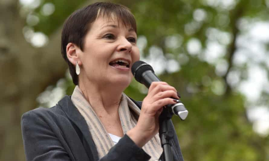'The lodestar of government policy is what is driving the climate and ecological crises.' Caroline Lucas speaks at a climate emergency protest in London, 2019.