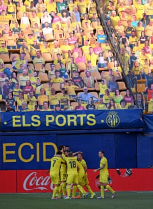 Pau Francisco of Villarreal is congratulated after he scores his team's second goal in the 2-2 draw with Sevilla.