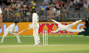 Australia's Steve Smith dives full length in the slips to catch Kane Williamson