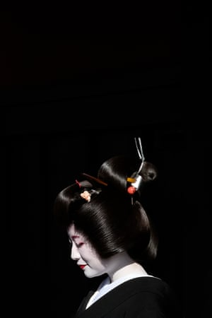 geisha in Kyoto with black background