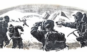 A 1950s depiction of mountain climbers in the Himalayas spotting a yeti or abominable snowman.