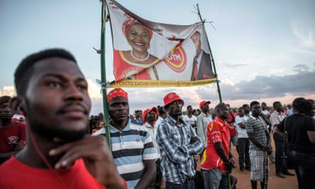 Supporters of Saulos Chilima listen to an address during the last presidential campaign Rally on 18 Mayin Lilongwe.