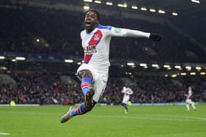 Jeffrey Schlupp celebrates scoring the second goal and sealing the points for Palace. The first time he has scored in 21 Premier League games, since scoring against Fulham in February.